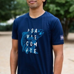 "T-shirt ""truite"" - navy - coupe droite"