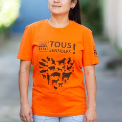 T-shirt L214 orange - coupe mixte