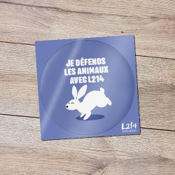 "Sticker ""Je défends les animaux"" - lapin"