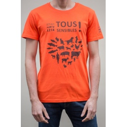 "T-shirt ""Tous Sensibles !"" - coupe homme - orange"