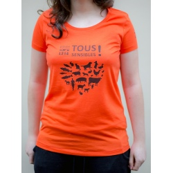 "T-shirt ""Tous Sensibles !"" - coupe femme - orange"
