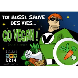 "Sticker ""Go vegan ! Captain Vegan"""