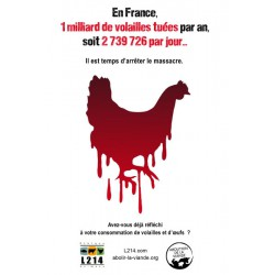 "Sticker ""En France 1 milliard de volailles tuées par an"""